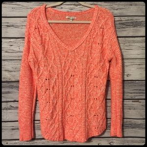 American eagle hot pink v neck cable knit sweater